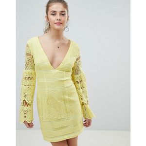 Prettylittlething v neck lace mini dress - yellow