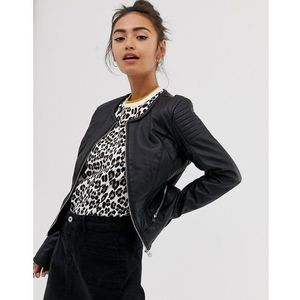 Pimkie faux leather collarless jacket in black - Black, skóra