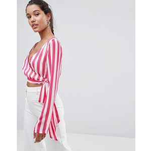 striped wrap top - pink marki Prettylittlething