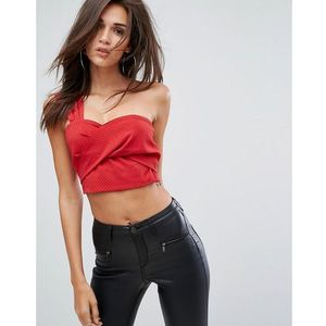 Fashion Union One Shoulder Crop Top With Wrap Front - Red