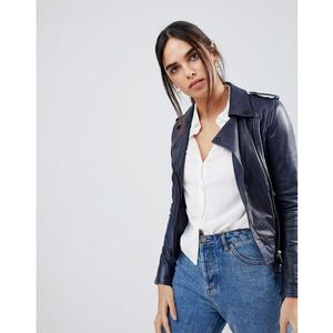 annabelle leather biker jacket - navy marki Barney's originals