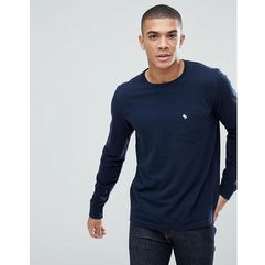 Abercrombie & Fitch Crew Neck Pocket Long Sleeve Top Tonal Logo in Navy - Navy, kolor szary