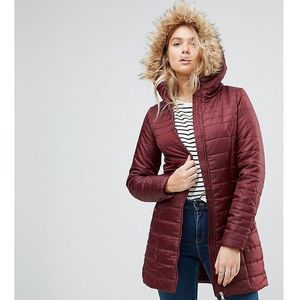 Vero moda tall padded faux fur belted parka - purple
