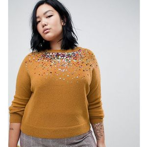 Asos curve Asos design curve jumper with scattered sequin detail - stone