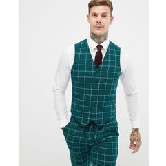 Asos design skinny suit waistcoat in forest green windowpane check - green