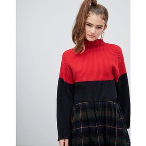 Monki textured cropped jumper with flared sleeves - multi