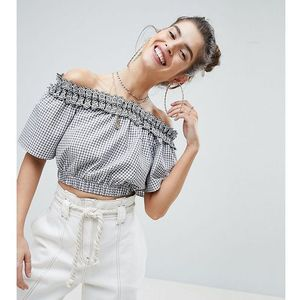 Reclaimed vintage inspired off the shoulder gingham crop top with broderie trim - multi
