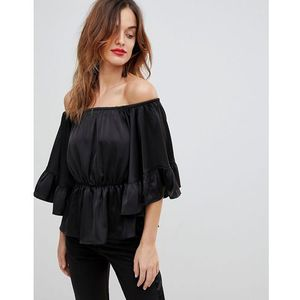 Y.A.S Top With Volume Ruffle Sleeves - Black