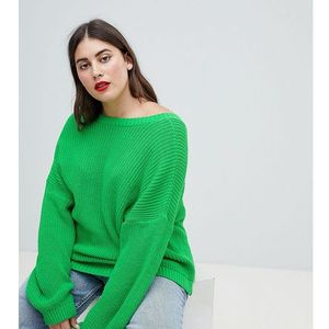 ASOS DESIGN Curve jumper with v back - Green, kolor zielony