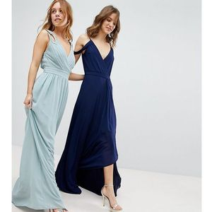 wrap front maxi bridesmaid dress with embellishment - green, Tfnc petite