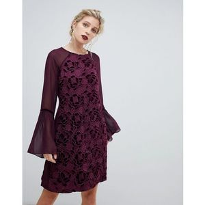 velvet lace shift dress with sheer sleeve in wine - red, Paper dolls