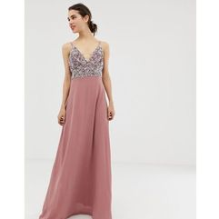 Angel Eye cami strap maxi dress with pleated skirt and embellished upper - Pink
