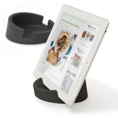 bosign kitchen tablet stand. cookbook stand for ipad/tablet pc -graphite gray 11,4 cm, 4,5 cm high. silicone - 262960 darmowy odbiór w 19 miastach! marki Bosign
