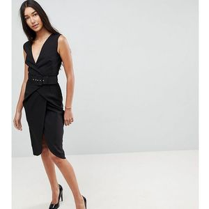 wrap over midi pencil dress with belt - black marki Asos tall