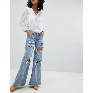 festival johnnies low waist wide leg jean with rips - blue, One teaspoon