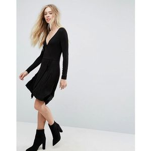 Brave Soul Wrap Jersey Dress - Black, kolor czarny