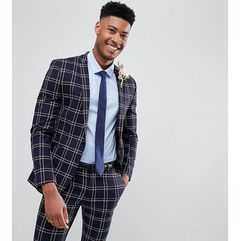 design tall wedding super skinny suit jacket in navy waffle check - navy marki Asos