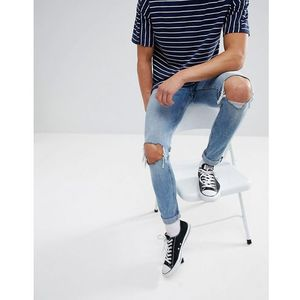 Cheap Monday Tight Skinny Jeans with Blown Out Knees - Blue, kolor niebieski