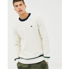 Abercrombie & Fitch icon logo varsity knit jumper in white - White