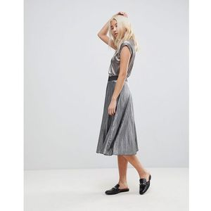 b.Young Silver Pleated Skirt - Silver, w 2 rozmiarach