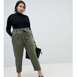 ASOS DESIGN Curve woven peg trousers with obi tie - Green