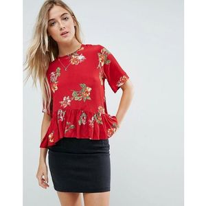 ASOS Tee with Asymmetric Ruffle Hem in Red Floral - Multi