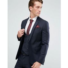 ASOS DESIGN skinny suit jacket in navy 100% wool - Navy, kolor szary