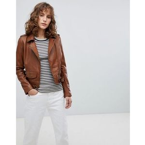Barney's Originals Leather Biker Jacket with Small Front Pocket - Brown, skóra