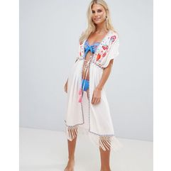 Accessorize dreamweaver kimono beach kaftan white - multi