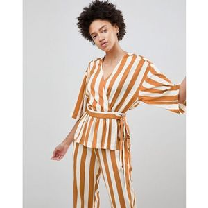Moss Copenhagen Wrap Front Top In Satin Stripe Co-Ord - Brown