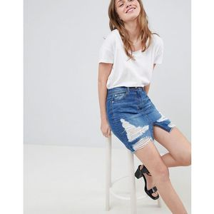 Parisian distressed denim skirt - blue