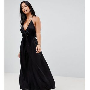 woven tie front maxi beach dress - black marki Asos petite