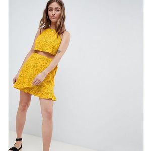 Glamorous petite wrap mini skirt with frill hem in ditsy spot co-ord - yellow