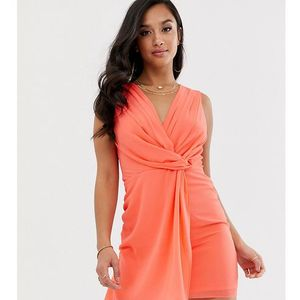 TFNC Petite wrap front mini dress in coral - Orange, kolor pomarańczowy