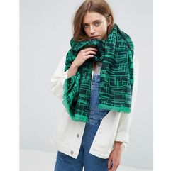 ASOS Long Woven Scratchy Graphic Scarf - Green