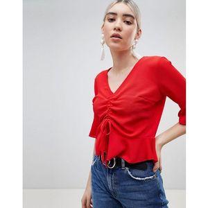 Boohoo ruched front top - red