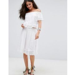 Ammol Embroidered Co Ord Beach Skirt - White