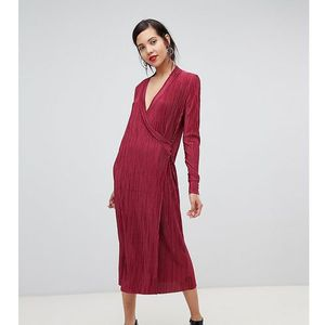 Y.a.s tall wrap pleated midi dress in red - red