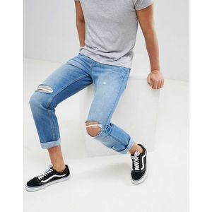 straight jeans in mid blue with rips - blue, Yourturn