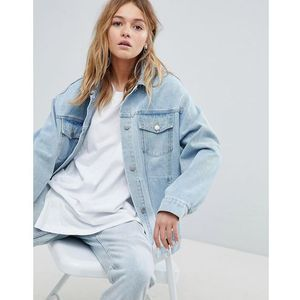Cheap Monday Oversized Denim Trucker Jacket with Rips - Blue, kolor Blue