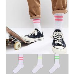 sports style socks with neon stripes 3 pack - multi marki Asos design