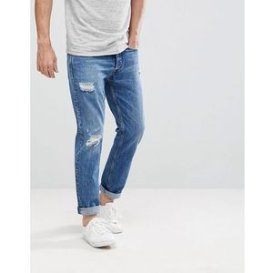 Calvin klein jeans tapered rip and repair jeans - blue