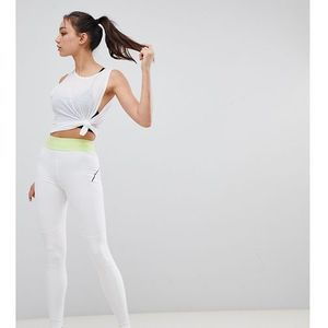 tall training legging with bonded waistband and laser cut technology - white, Asos 4505