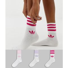 3 pack solid crew socks in pink - pink, Adidas originals