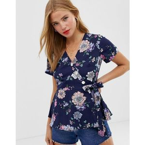 wrap front top in floral - navy, Qed london