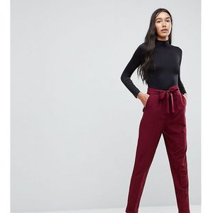 woven peg trousers with obi tie - red marki Asos tall