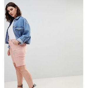 Zizzi Denim Short with Raw Edge and Rips - Pink