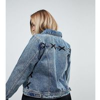 Zizzi Lace Detail Denim Jacket - Blue, 1 rozmiar