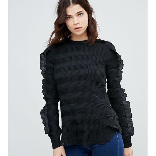 Y.A.S Tall Diana Ruffle Textured Blouse - Black