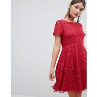 Zibi Lace Skater Dress - Red, kolor czerwony